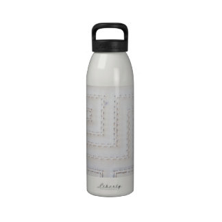 White Seams Faux Leather Drinking Bottle