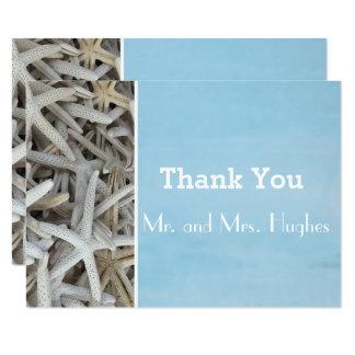 White seashell beach wedding thank you card