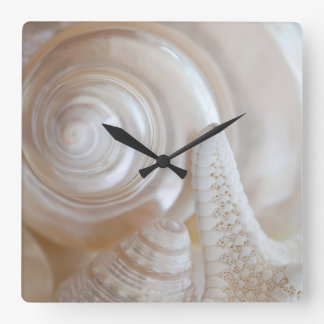 White Seashells Starfish Tropical Beach Sea Shells Square Wall Clock