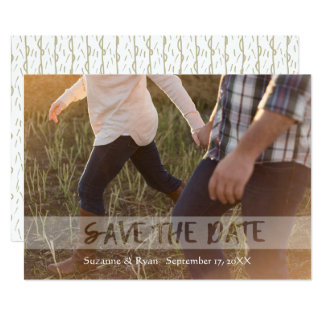White See Through Text Save The Date Gold Photo Card