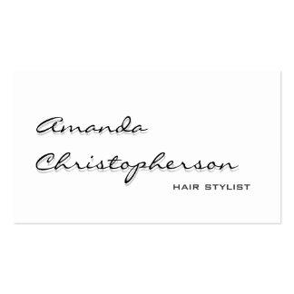 White Shadow Handwrite Hair Stylist Business Card