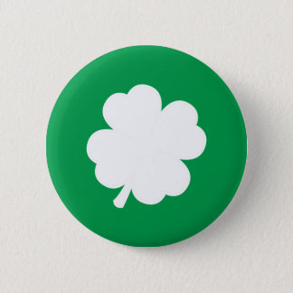 White Shamrock 6 Cm Round Badge