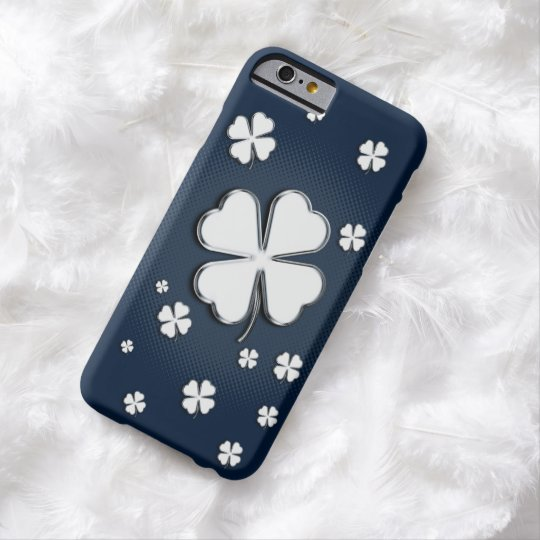 White shamrocks on blue backgrounds barely there iPhone 6 case