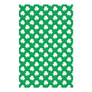 White Shamrocks on Green St.Patrick's Day Clover Flyer Design