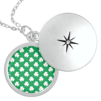 White Shamrocks on Green St.Patrick's Day Clover Lockets