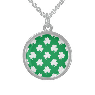 White Shamrocks on Green St.Patrick's Day Clover Sterling Silver Necklace