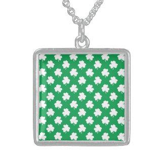 White Shamrocks on Green St.Patrick's Day Clover Pendant