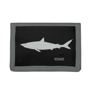 white shark on black personalized tri-fold wallet