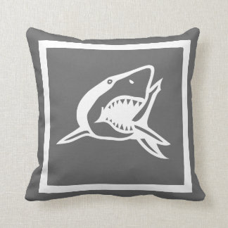 white  shark on dark grey pillow