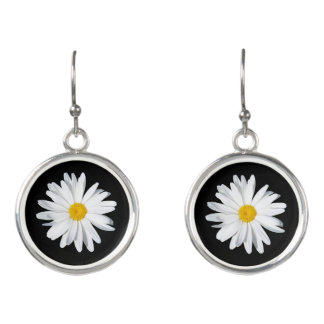 White Shasta Daisy Dangle Earrings