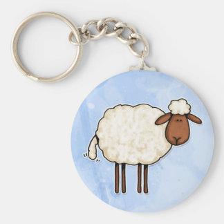 white sheep basic round button key ring