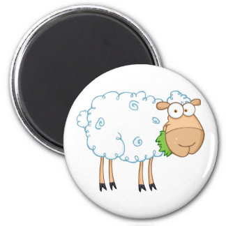 White Sheep Cartoon Character 6 Cm Round Magnet