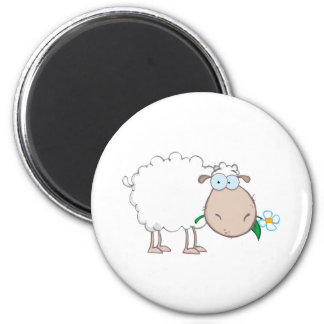 White Sheep Cartoon Character Eating A Flower 6 Cm Round Magnet