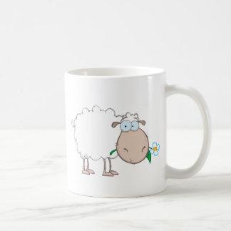 White Sheep Cartoon Character Eating A Flower Mugs