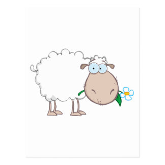 White Sheep Cartoon Character Eating A Flower Postcard