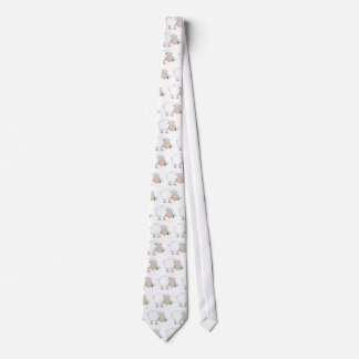 White Sheep Cartoon Character Eating A Flower Tie