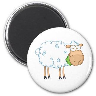 White Sheep Cartoon Character Refrigerator Magnets