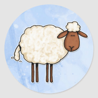 white sheep classic round sticker