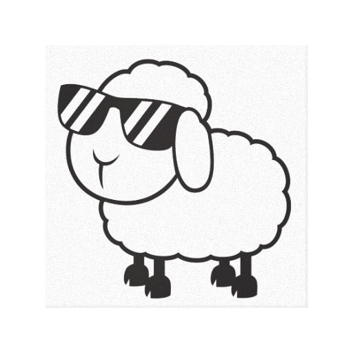 White Sheep in Sunglasses Cartoon Stretched Canvas Print
