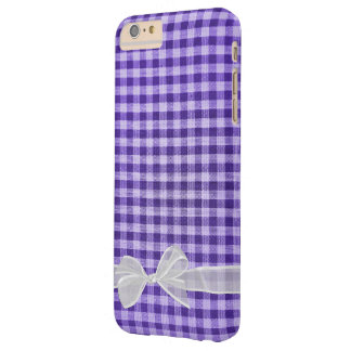 white sheer bow on purple gingham barely there iPhone 6 plus case