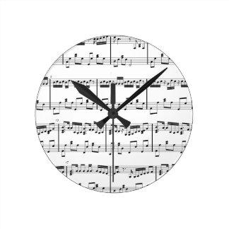White Sheet Music Clock