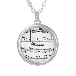 White Sheet Music Necklace