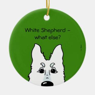 White Shepherd - does else what? Round Ceramic Decoration