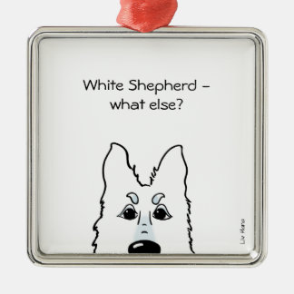 White Shepherd - does else what? Silver-Colored Square Decoration