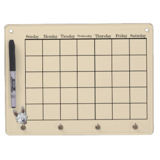 White Shepherd Dog Calendar Dry Erase Board With Key Ring Holder