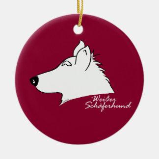 White shepherd dog head silhouette christmas ornament