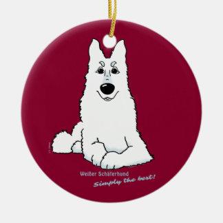 White shepherd dog lying christmas ornament