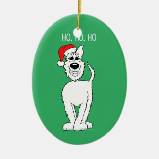 White shepherd dog Santa Ceramic Oval Decoration