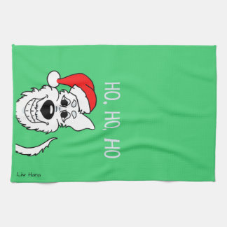 White shepherd dog Santa Tea Towel