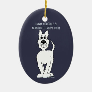 White shepherd dog Smile Christmas Ornament