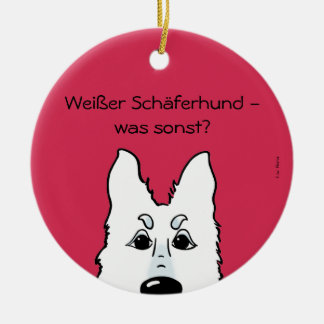 White shepherd dog - which otherwise? round ceramic decoration