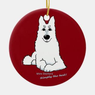 White Shepherd lying Christmas Ornament