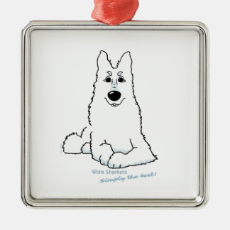 White Shepherd lying Silver-Colored Square Decoration