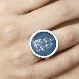 White ship Nautical ring Blue and white