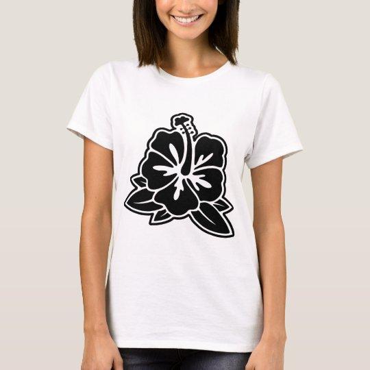 White Shirt - Black Hibiscus