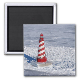 White Shoal Lighthouse Square Magnet