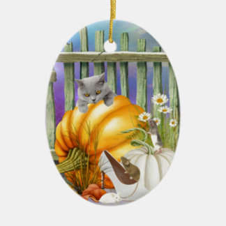 White Shoe Lost in the Pumpkin Patch is a collage Christmas Ornament