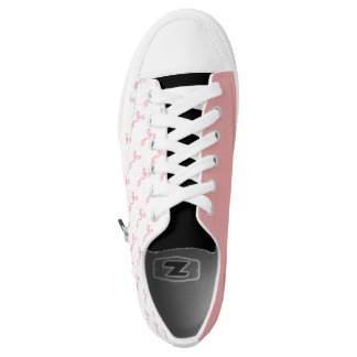 White Shoes with Pink Hand-painted Flamingo