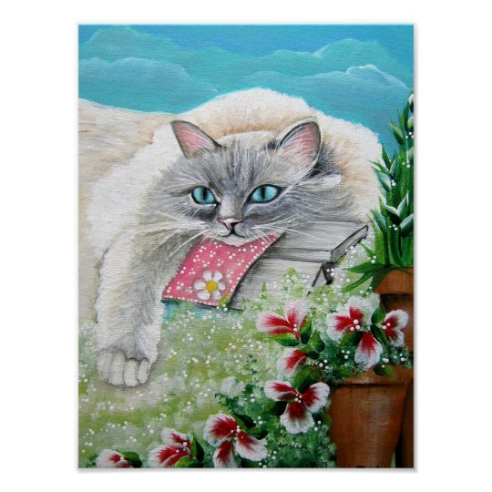 White Siamese Cat Art Print and Poster