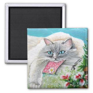 White Siamese Cat  Magnet
