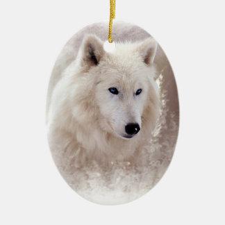 WHITE SIBERIAN HUSKY. CHRISTMAS ORNAMENT