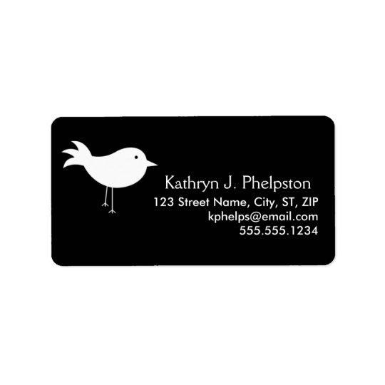 White Silhouette Bird Personalised Address Label