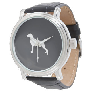 WHITE SILHOUETTE WEIMARANER MENS WATCH LEATHER