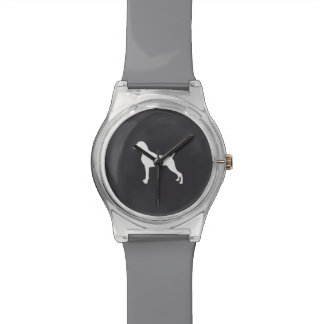 WHITE SILHOUETTE WEIMARANER WATCH GREY BAND