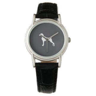WHITE SILHOUETTE WEIMARANER WOMENS WATCH LEATHER