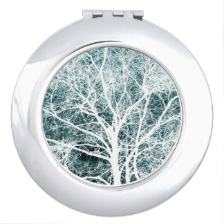 White silhouetted tree vanity mirror